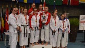 JKA England Ladies Karate team as Squad winners